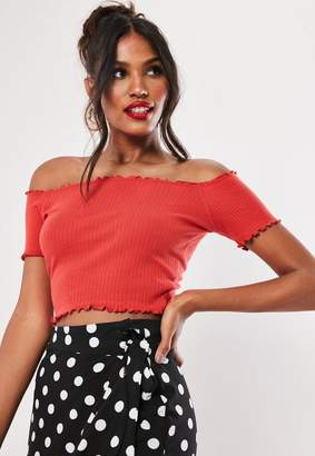 960065ca8d65cb Missguided Red Rib Lettuce Hem Bardot Crop Top