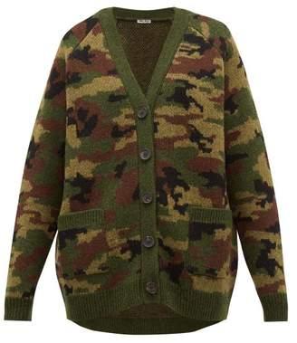 Miu Miu Camouflage Jacquard Wool Cardigan - Womens - Green Multi