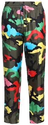 Valentino Cropped Printed Silk-Twill Straight-Leg Pants