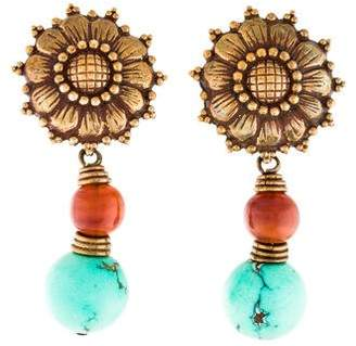 Stephen Dweck Turquoise & Ambroid Sunflower Drop Earrings