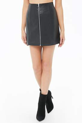 ccd95e3c1 Black Faux Leather Skirt With Front Zip - ShopStyle Canada