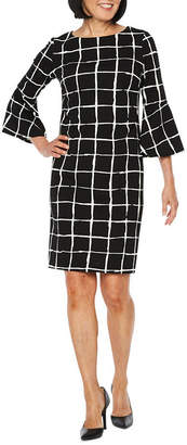 Liz Claiborne 3/4 Bell Sleeve Grid Sheath Dress
