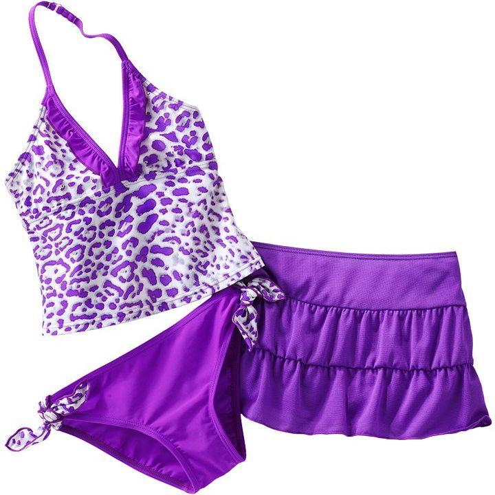 Candie's cheetah studded 3-pc. tankini swimsuit set - girls 7-16