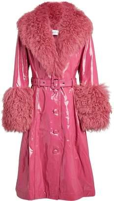 Saks Potts Foxy Fur-Trimmed Glossy Coat
