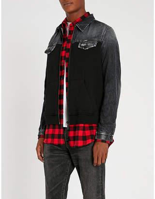 Marcelo Burlon County of Milan Contrast-panel denim and cotton-blend jacket