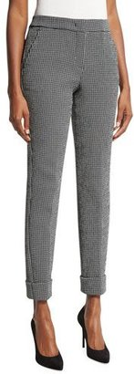Armani Collezioni Gingham Rolled-Cuff Pants, Black/White $595 thestylecure.com