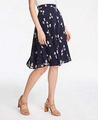 Ann Taylor Petite Chiffon Floral Full Skirt