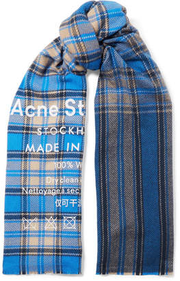 Acne Studios Cassiar Printed Checked Wool Scarf - Blue