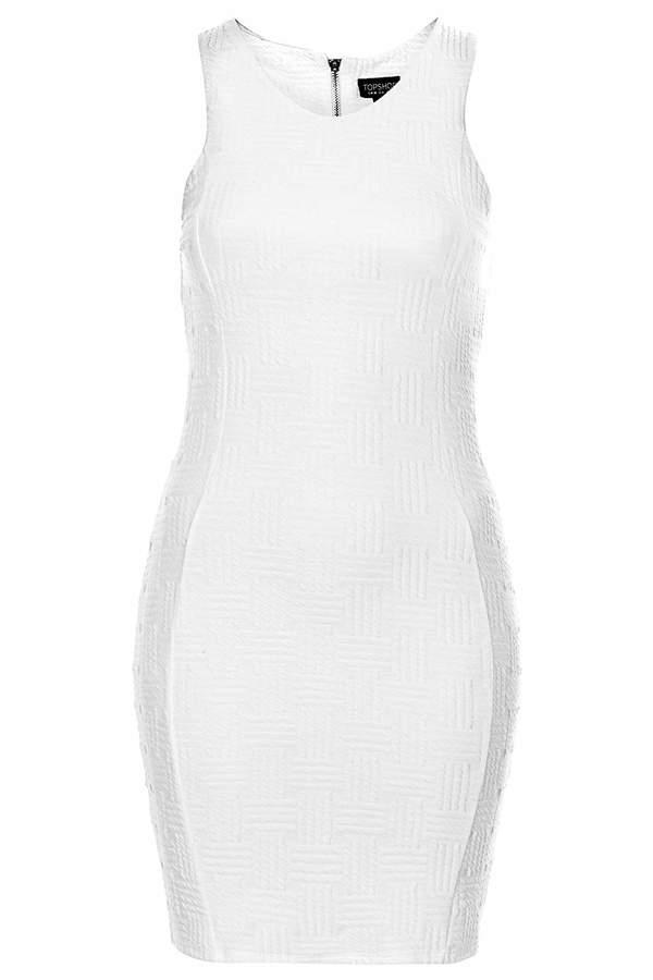 Topshop Petite exclusive jacquard bodycon dress in white. 98% polyester, 2% elastane. machine washable.