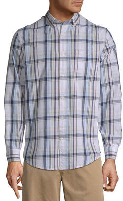 ST. JOHN'S BAY Mens Long Sleeve Gingham Button-Front Shirt