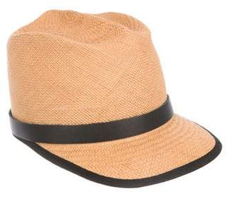 Gladys Tamez Straw Leather-Trimmed Cap