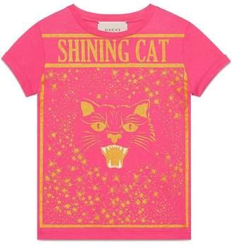 Gucci Kids Children's cotton T-shirt with Shining Cat print
