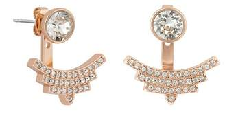 Adore Rose Gold Plated Round Swarovski Crystal Accent & Pave Arc Jacket Earrings