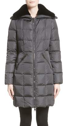 Moncler Davidia Quilted Down Coat with Removable Genuine Lamb Fur Collar