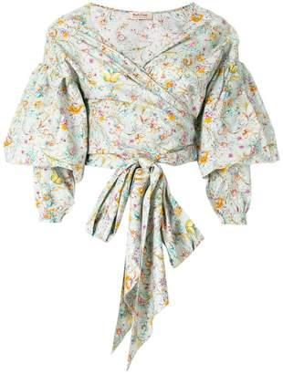 Black Coral front-tie floral blouse
