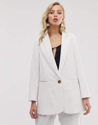 Closet London oversized blazer in oatmeal stripe