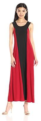 Star Vixen Women's Sleeveless Black Stripe Color-Block Sleeveless Maxi Dress