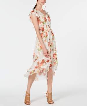 Elie Tahari Minda Floral Smocked Chiffon Dress