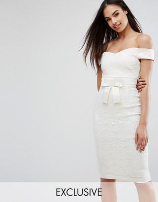 Vesper Off Shoulder Lace Pencil Dress With Satin Bow $102 thestylecure.com