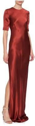 Rojas Alejandra Alonso Short-Sleeve Crepe Silk Chiffon Gown