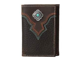M&F Western Turquoise Stone Concho Trifold Wallet