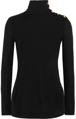 Balmain - Button-detailed Wool Turtleneck Sweater - Black $675 thestylecure.com