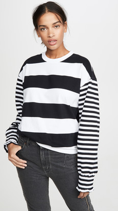 Opening Ceremony Cropped Stripe Sweatshirt