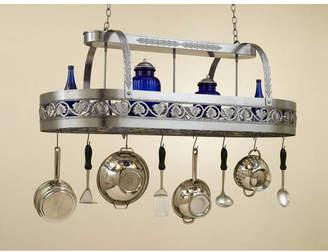 Hi-Lite Leaf Rounded Hanging Pot Rack with 2 Lights