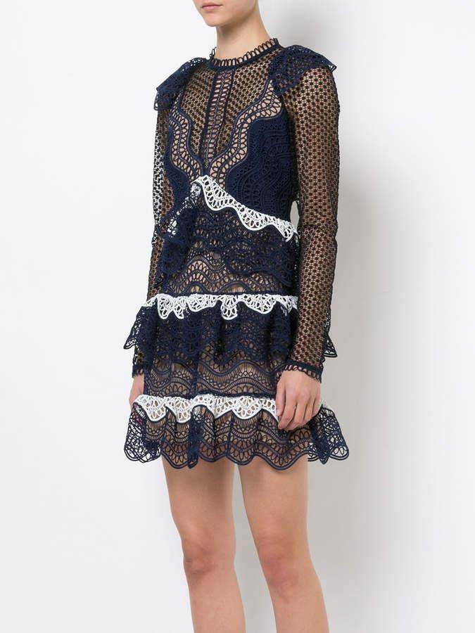 Self-Portrait polka-dot ruffle dress