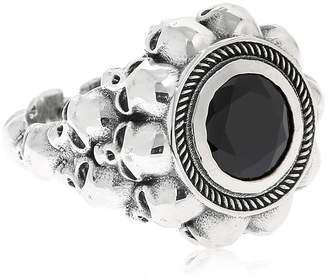 Black Round 3d Skulls Ring
