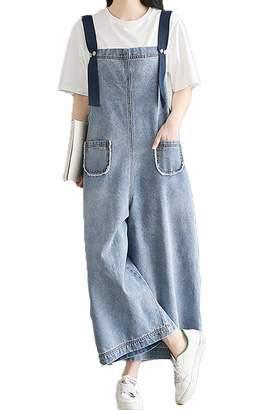 Deni Suvotio Woen Overalls Casual Wide Leg Boyfriend Jeans Plus