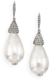 Oscar de la Renta Bridal Faux Pearl& Crystal Teardrop Earrings