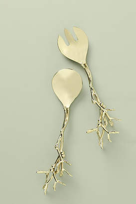 Anthropologie Kasia Wisniewski Gilded Branch Serving Set