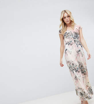 1ed2ebd2a95b0 Little Mistress Tall Button Through Maxi Dress In Romantic Floral Print