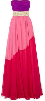 Reem Acra - Lamé-trimmed Color-block Silk-georgette Gown - Purple
