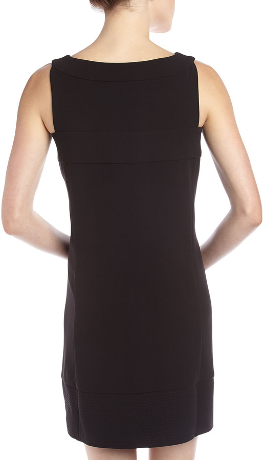 Rachel Roy Zip-Front Trapunto-Stitch Dress, Black