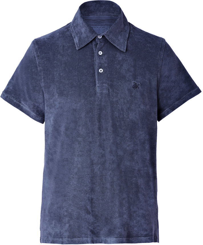 Vilebrequin Navy Terry Cloth Polo Shirt