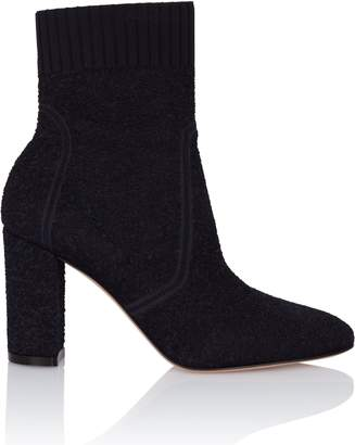 Gianvito Rossi Round Toe Navy Boucle Sock Boot