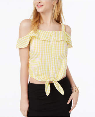 Ultra Flirt by Ikeddi Juniors' Cotton Cold-Shoulder Gingham Top
