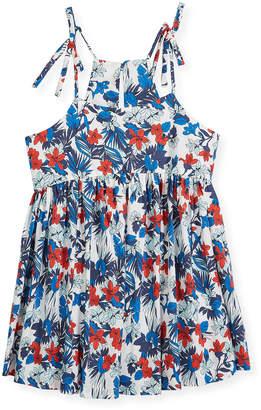 Milly Minis Hibiscus-Print Tank Dress, Size 4-7