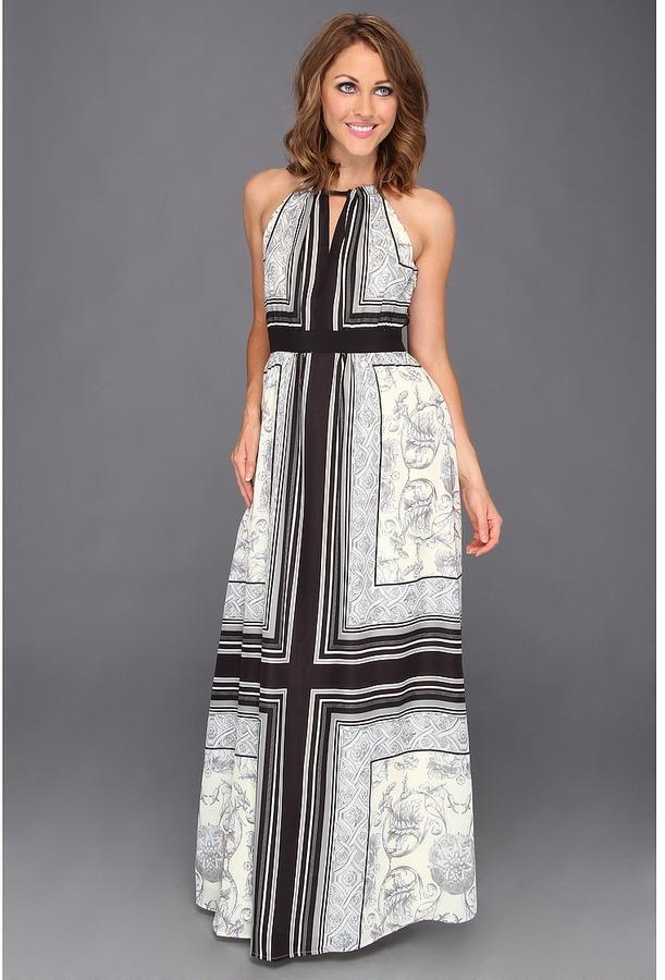 Vince Camuto Empire Waisted Maxi Dress (Black/White) - Apparel