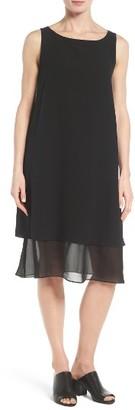Women's Eileen Fisher Silk Georgette Shift Dress $398 thestylecure.com