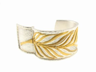 Cathy Waterman Sterling Silver and 22 Karat Gold Leaf Cuff Bracelet