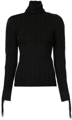 Christian Siriano fringed turtle neck top