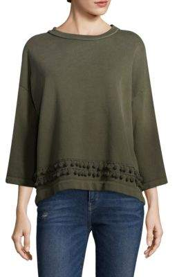 Current/Elliott Three-Quarter Sleeve Pom Pom Cotton Sweatshirt