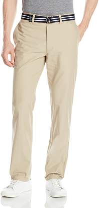Haggar Men's Belted Poplin Straight Fit Plain Front Pant