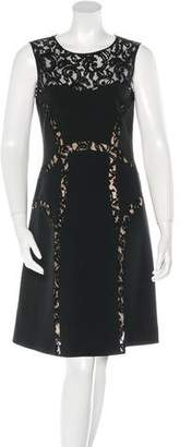 Alberta Ferretti Lace-Trimmed Knee-Length Dress w/ Tags