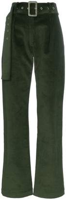 Matériel belted corduroy flared trousers