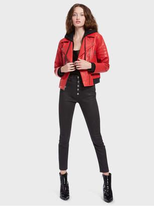 Alice + Olivia Avril Hood Combo Leather Jacket