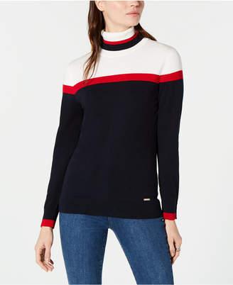Tommy Hilfiger Cotton Colorblocked Turtleneck Sweater